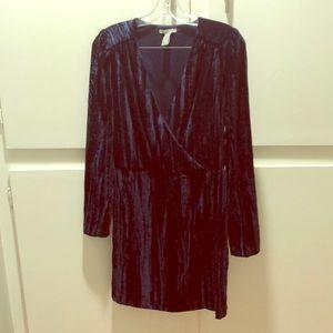 Wrap Front Velvet Dress
